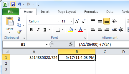 Excel Date Displayed